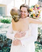 beth john wedding first look hug