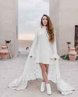patterned bridal cape