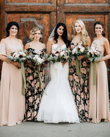 chic bridesmaids solid and pattern gowns