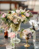 Cluster Centerpieces with Garden Roses and Greenery