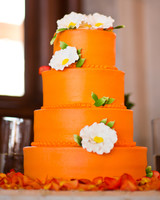 Orange and White Floral Wedding Cake