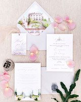 white stationary wedding invitation suit with garden design