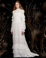 high-neck tiered ruffles tulle lace long sleeves a-line wedding dress Honor Spring 2020