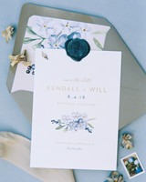 white wedding invites with forget-me-not watercolor sketch