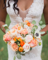 orange and white floral wedding bouquet