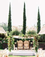 outdoor wedding ceremony in garden area