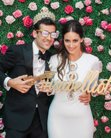 photo booth props floral backdrop sparkle hashtag