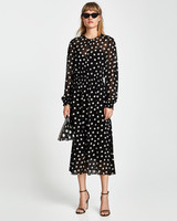 black and white polka dot sheer overlay dress