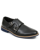 ring bearer shoes black leather shoe with two silver buckles