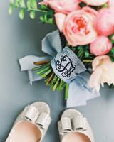 something blue monogramed bouquet wrap