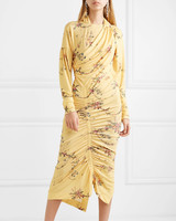 yellow long sleeve floral print midi dress
