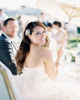 Bride with Parasol and Fascinator