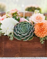 Bright succulent and dahlia summer wedding centerpiece