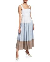 Lela Rose Square-Neck Block Gingham-Print Dress