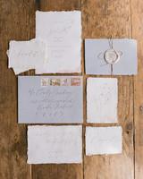 blue and white vintage invite