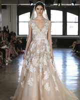 Watters nude wedding dress with with white applique fall 2019