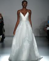spaghetti strap deep v-neck a-line wedding dress Amsale Spring 2020