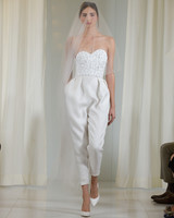Strapless Wedding Jumpsuit with Applique Top