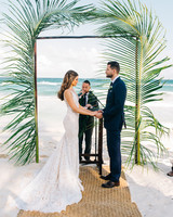 Wedding Reception On Beach Palm Ceremony Arch