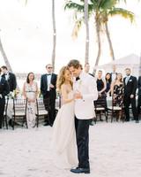 beth john wedding first dance under palm tree