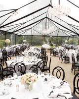 black and clear tent wedding reception