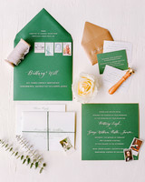 green and white wedding stationary suite