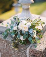 wedding bridal bouquet white green blue gray flowers