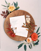 pale letterpress text white invites with tree design
