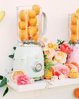 cavin david wedding orange smoothie blender decorations