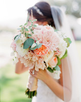 bride dahlia bouquet pastel flowers