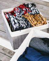 blankets placed in baskets for guests