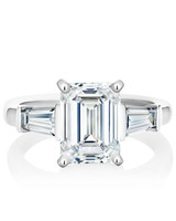 emerald cut ring platinum band with tapped baguettes