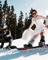 epic wedding photos the foxes snowboarding
