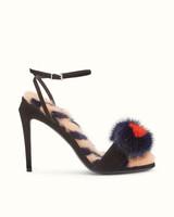 fendi sandals black suede fur