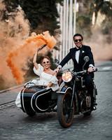 karolina sorab wedding bride groom couple motorcycle