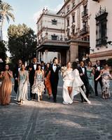 karolina sorab wedding family and couple walking on street