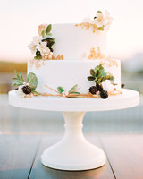 Small White Wedding Cake with Blackberries
