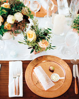 Copper, White, and Green Table Setting