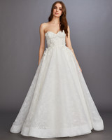 strapless sweetheart neckline floral applique a-line tulle wedding dress Lazaro Spring 2020