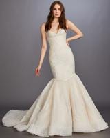spaghetti strap v-neck glitter mermaid wedding dress Lazaro Spring 2020