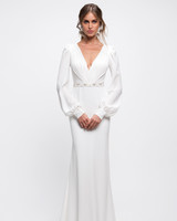 lihi hod wedding dress bell sleeves v-neck beaded belt trumpet