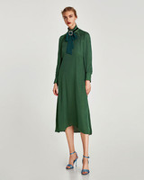 long sleeve green gown