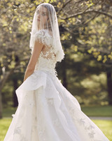 Marchesa cap shoulder with veil wedding dress fall 2019