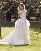 Marchesa illusion cap shoulder v-neck wedding dress fall 2019