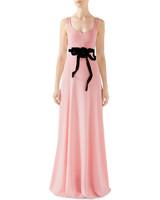 pink sheath bridesmaid dress with black bow tie
