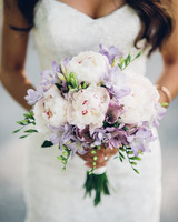bouquet with white peonies and purple flowers