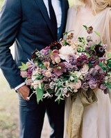 bouquet with lilacs and purple flowers