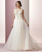 Rebecca Ingram wedding dress spring 2019 high neckline a-line with tulle skirt