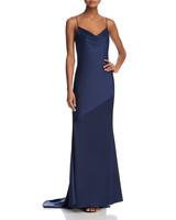 navy strappy silk gown