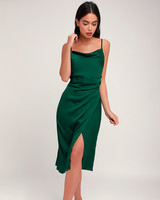 lulus hollywood woman satin midi dress forest green